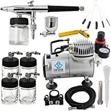OPHIR Dual Action Airbrush Kit with 110V Air Compressor & Cleaning Tools for Makeup Nail Art Tanning