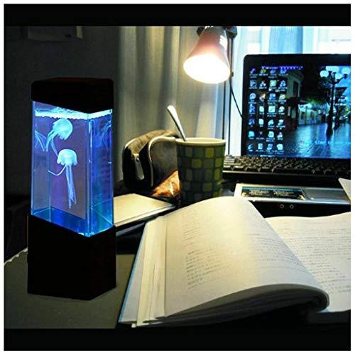 Mini lámpara de medusas de fantasía de escritorio con efectos de luz que cambian de color Una lámpara de humor de acuario de tanque de peces de gelatina sintética sensorial Excelente regalo