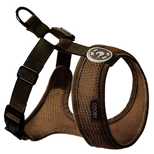 Gooby - Freedom Harness II, Choke Free Mesh Harness for Small Dogs with Microsuede Straps, Brown, X-Small