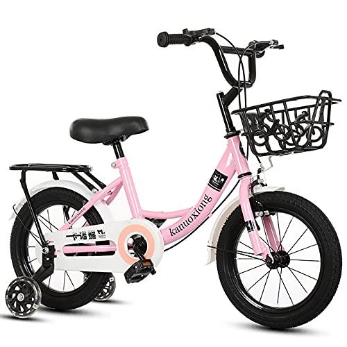 CKCL Bicicleta para Niños Niños Niñas Bicicleta De Estilo Libre, 12 14 16 18 20 Pulgadas con Ruedas De Entrenamiento Flash con Asiento Trasero Y Canasta para Niños De 2 a 15 Años,Rosado,20inches