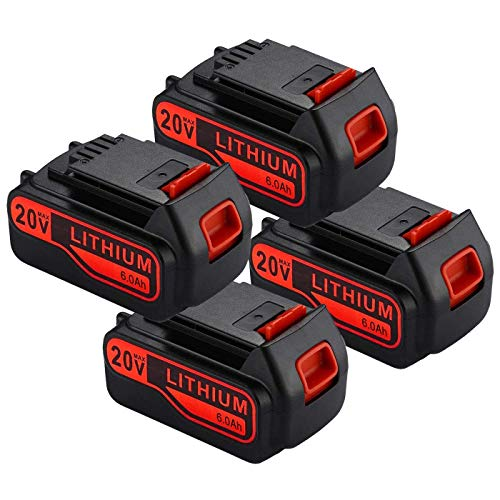 4Pack 6000mAh 20v Lithium-Ion Replacement Battery for Black and Decker 20V Lithium Battery LBXR20 LB2X4020-OPE LBX20 LST220 LB20 LBX4020 LBXR2020-OPE LBXR20B-2 LBXR20-OPE