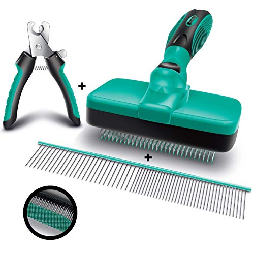 Ruff 'N Ruffus Self-Cleaning Slicker Brush + FREE Pet Nail Clippers + FREE 7.5' Steel Comb | UPGRADED PAIN-FREE BRISTLES | Cat Dog Brush Grooming Gently Reduces Shedding & Tangling For All Hair Types