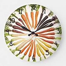 EnjoyHome Fun Colorful Carrots Wooden Wall Clock Roman/Arabic Numerals Retro Decor Wall Art for Livingroom Office Cafe