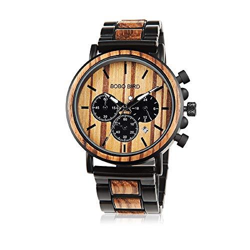 Bobo Bird, orologio da polso da uomo, in legno, fatto a mano, multifunzione, casual, al quarzo, personalizzabile, regalo personalizzato per uomo
