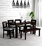MV Furniture Sheesham Wooden Dining Table 6 Seater | 4 Chairs with Cushion and Bench | Home Dining Room Furniture | Warm Chestnut Finish