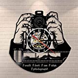 GVC Hands On Camera Photo Camera Reloj de Pared Fotógrafos Disco de Vinilo Reloj de Pared Fotografía Estudio Logotipo Camarógrafo Shutterbugs Regalo