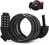 4 Feet Cable Bike Lock, High Security 5 Digit Resettable Combination Coiling Steel Lock with Free Mounting Bracket