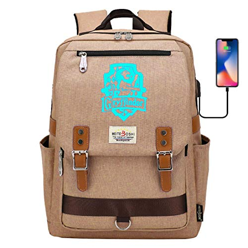 DDDWWW High School Student Schoolbag Fashion Luminous Backpack Suitable for Study Work Travel Gryffindor Khaki