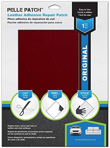 Pelle Patch - Pièce adhésive de réparation de Cuir et Vinyle - 25 Couleurs Disponibles - Original 20cm x 28cm - Rouge