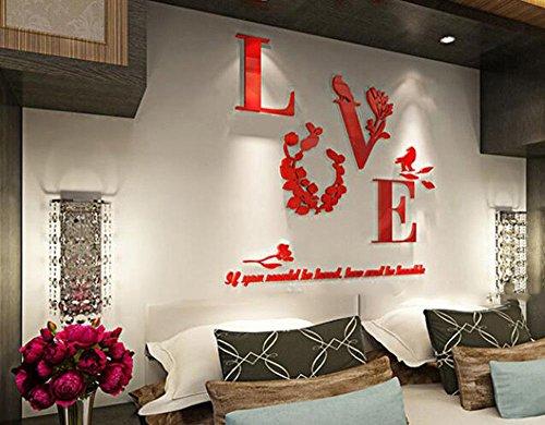 Autocollants adhésifs muraux stéréo acrylique autocollant miroir décoration chambre salon TV fond stickers muraux, 670x520mm, rouge