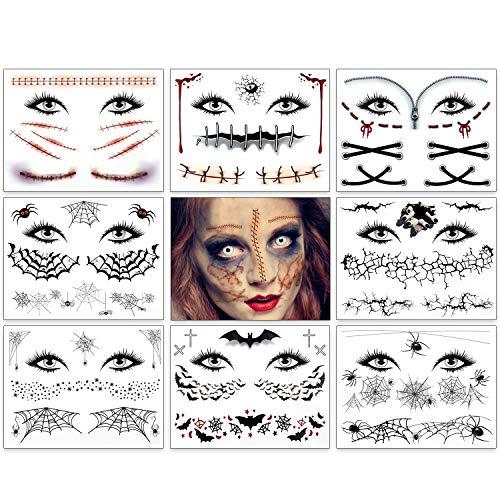 Wunde Kratzer Spinnennetz Fledermäus Tattoos für Gesicht Body Temporäre Tattoo Halloween 9 Blatt, Spinnennetz Narben Tattoo für Frauen Männer Kinder Halloween Schminke Masquerade Karneval Kostüm