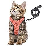 Simpeak Arnés para Gatos, arnés para Gatos con Correa a Prueba de Escape, arnés para Gatos arnés para Cachorros Suave, Mediano, Naranja