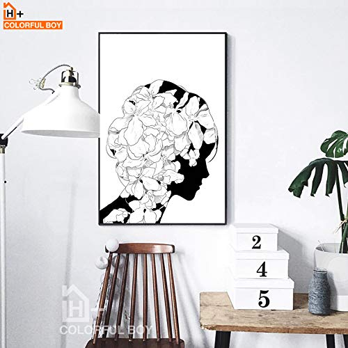 KWzEQ Mädchen Blume Leinwand Malerei nordischen Kopf Wandkunst abstrakte Wandbild Wohnzimmer Mädchen Schlafzimmer Dekoration-Rahmenlose Malerei50X70cm