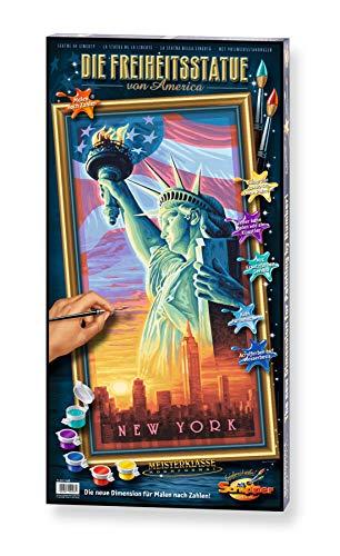 Schipper 609220496 - Malen nach Zahlen - Die Freiheitsstatue von Amerika - Bilder malen für Erwachsene, inklusive Pinsel und Acrylfarben, 80 x 40 cm