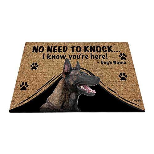 Bageyou - Felpudo personalizado con nombre de perro con My Love Dog Belga Malinois Welcome Floor Mat No necesita golpear I...