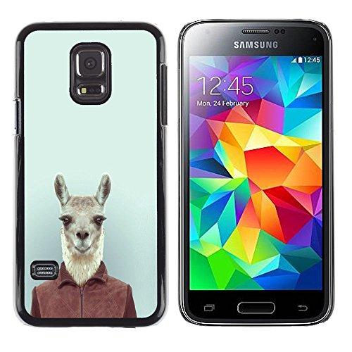 SuperStar // Immagine fredda Custodia rigida Calotta di protezione del PC Hard Case Protective Cover for Samsung Galaxy S5 Mini, SM-G800 / Divertente Carino Hipster Lama Alpaca in vestito /