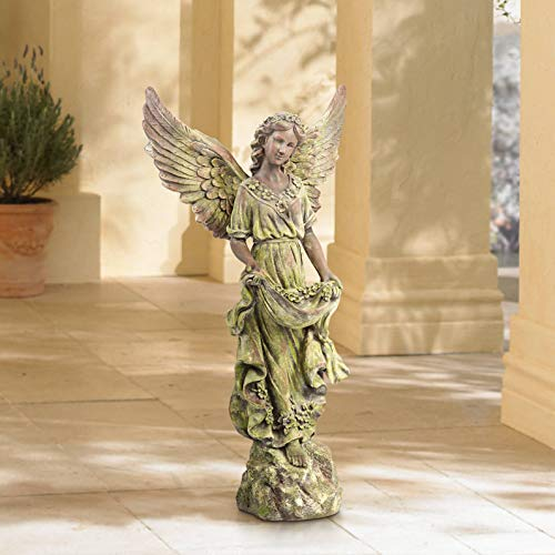 John Timberland Rustic Outdoor Statue Bird Bath 31″ High Outstretched Wing Angel for Yard Garden Patio Deck Home Entryway Hallway
