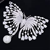 yuge Hermosos broches de mariposa para mujer alfileres de mariposa y abrigos de broche, con broches de plata de circonio animal, accesorios, joyería AM-B20082601