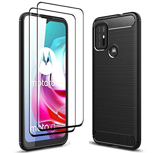 ALAMO Ultra Silicone Hülle für Motorola Moto G30 / G10, Kohle Faser StoßFest Bumper Handyhülle [mit 2 Stück Panzerglas Bildschirmschutzfolie ] - Schwarz