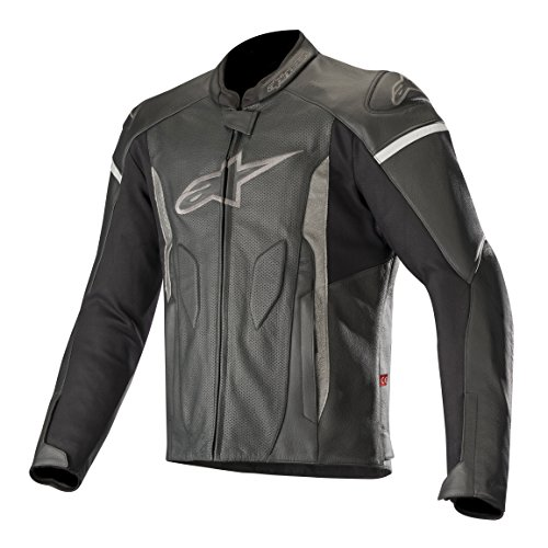 Alpinestars Men's Faster Airflow Leather Street Motorcycle Jacket, Black/Black, 52