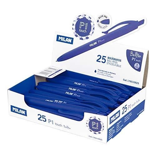 MILAN® Caja expositora 25 bolígrafos P1 touch azul