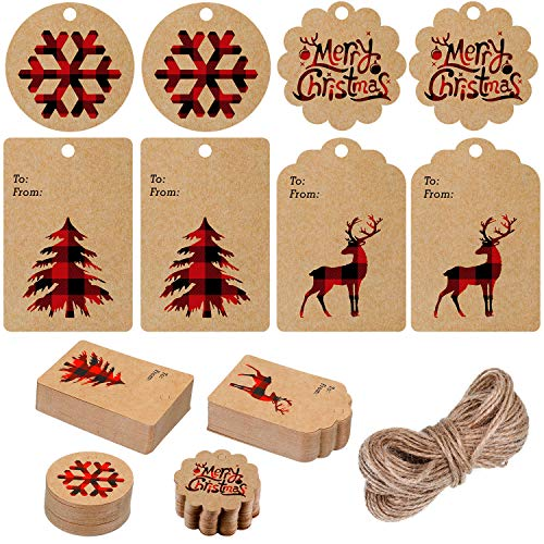 200 Pieces Christmas Paper Tags Kraft Gift Tags Hang Labels with Plaid Snowflake Christmas Tree Elk Patterns and 66 Feet Twine Rope for Christmas (Red and Black)