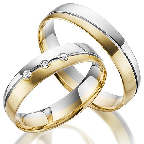 Juwelier Rubin Trauringe Gold Bicolor Weißgold Eheringe Gravur 333/585 Variante … (14 Karat (585) Bicolor)