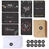 Quantity: Package includes 150 Pcs Blank Thank You Cards in 6 assorted Chalkboard & Floral designs, 75 pcs White Envelopes and 75 pcs kraft paper envelopes for easy sealing, and 15 sheets Round Label Stickers (150 pcs) in 10 patterns. Dimensions: Eac...