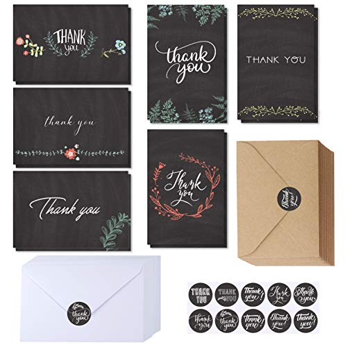 Supla 150 Sets Thank You Cards with Envelopes Stickers Bulk Thank You Notes 6 Designs of Chalkboard Floral Thank You Note Cards Vintage Blank Thank You Card 4 x 6 for Wedding Bridal Baby Shower
