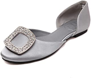 Women Flats Glitter Rhinestone Decorated Cutout Loafers Pointed Toe Open Side Slip on Shoes
