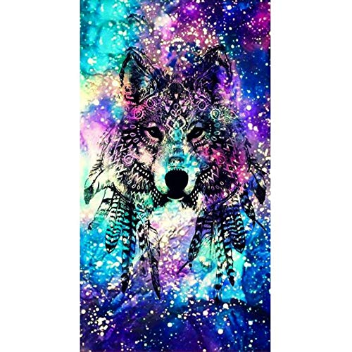 ZHONGYU DIY Diamond Painting, Crystal Rhinestone Diamond Embroidery Pictures Arts Craft for Home Wall Decor Evil Charm Wolf Head(40 × 50CM)