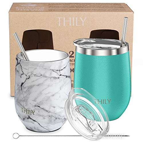 Stainless Steel Stemless Wine Glasses - THILY 12 oz Vacuum Insulated Wine Tumbler with Lid and Straw, Reusable, Keep Cold & Hot for Drinks, Coffee, Cocktails, Mother's Day Gift, 2 Pack(Teal + Marble)