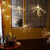 200 LED luci bianche calde fata fuochi d'artificio a forma di luci decorative appese a corda 8 modalità di luci luci in filo di rame lampadine illuminazione da giardino impermeabile per la festa