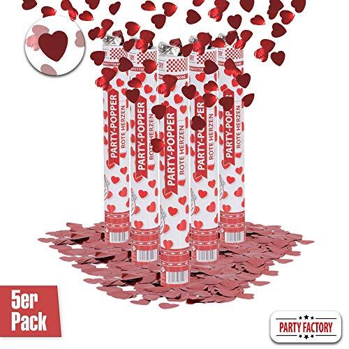Party Factory 5er Set Party Popper, 40 cm, Rote Herzen Konfetti, bis 8 m Effekthöhe, Konfettiregen für Hochzeit, Valentinstag oder Jahrestag