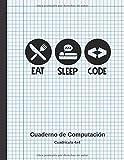 EAT, SLEEP, CODE: CUADERNO DE COMPUTACIÓN |LIBRETA CUADRICULADA 4X4 | APUNTES Y EJERCICIOS DE ALGORITMOS Y PROGRAMACIÓN.
