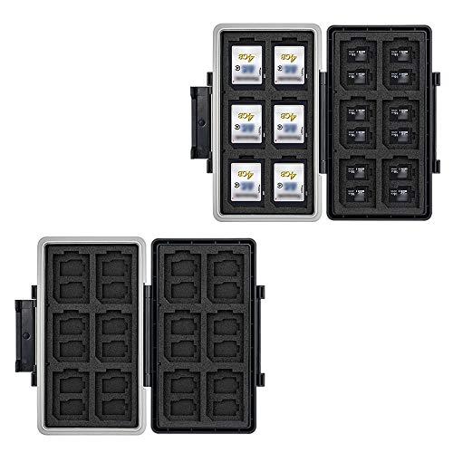 JJC Soporte para tarjeta SD de 36 ranuras para tarjetas de memoria resistente al agua Estuche de transporte para 24 tarjetas Micro SD + 12 SD SDHC SDXC