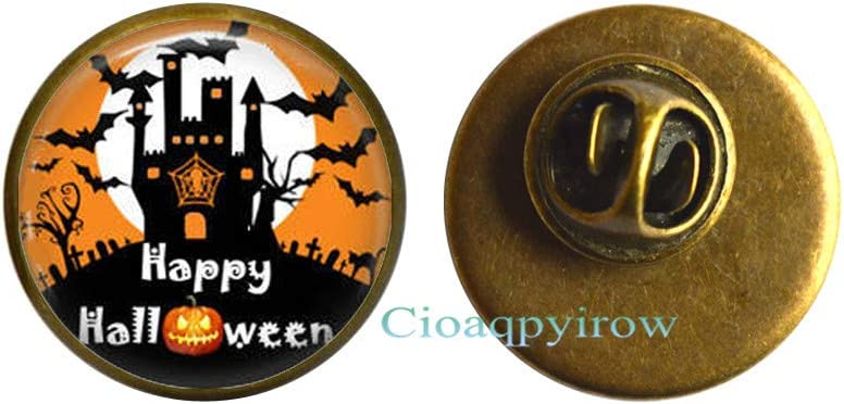 Halloween Jewelry Halloween Brooch Glass Tile Brooch Witch Jewelry,Holiday Jewelry,HO0E293