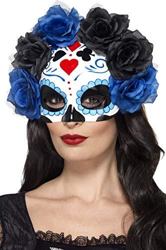 Smiffys Damen Tag der Toten Halbe Augenmaske mit Rosen, One Size, Blau, 44640