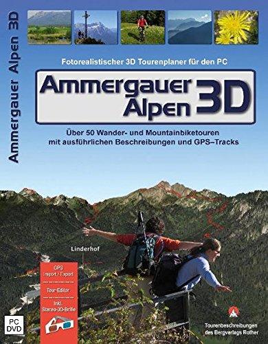 Ammergauer Alpen 3D, 1 DVD-ROM Fotorealistischer 3d Tourenplaner für den PC. Über 50 Wander- und Montainbiketouren mit ausführlichen Beschreibungen und GPS-Tracks. GPS Import/Export, Tour-Editor