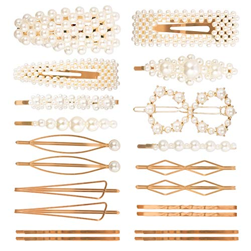 20 Pieces Pearl Hair Clips - YiTuo Artificial Hair Clips for Women Girl Hair Accessories Barrettes Decorative Bridal Hair Clips Hair Decoration for Party Wedding Daily (Style Set 1)