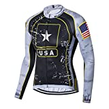 USA Flag Star Men Cycling Jersey Top Long Sleeve Bicycle Jacket Bike Clothing Breathable Black Size XL