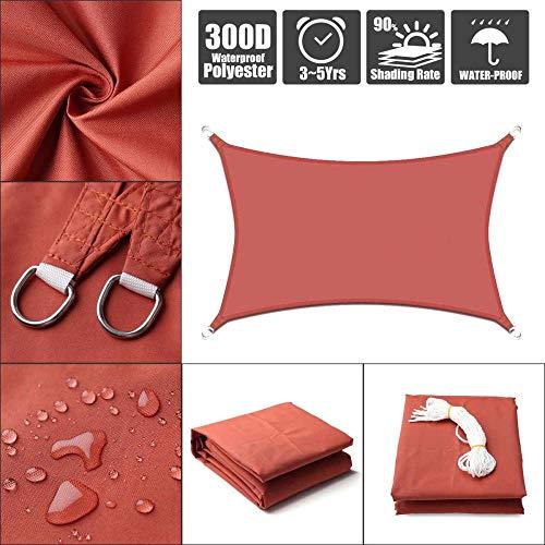 Rojo óxido Impermeable Refugio para el Sol Protección de la sombrilla Toldo al Aire Libre Jardín Patio Piscina Sombra Vela Toldo Paño de Sombra para Acampar Large-2x4