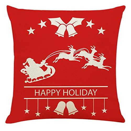 LEEDY Christmas Linen Pillowcase Cartoon Printed Sofa Cushion Cover Bedside for Home Bedroom Sofa Office Decor Supplies,18x18
