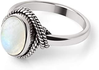 Chuvora 925 Sterling Silver White Moonstone Oval Rope Edge Vintage Band Ring Size 6, 7, 8