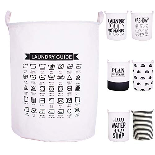 CAM2 Laundry Baskets 22×16 Collapsible Waterproof Cotton Linen Foldable Laundry Hampers Storage Bin Organizer Baskets with Handles for Bedroom Clothes Toy Baby Nursery Laundry Guide