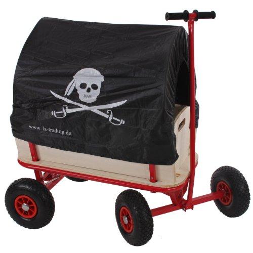 Mendler Bollerwagen Handwagen Leiterwagen Oliveira ~ ohne Sitz, mit Bremse, Dach Pirat schwarz
