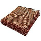Craft Story Decke Joana I schwarz – orange aus 100prozent Baumwolle I Tagesdecke I Sofa-Decke I Couch-Überwurf I Bedspread I Plaid I Kuscheldecke I 170 x 220cm