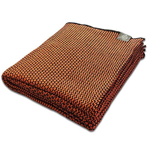 Craft Story Decke Joana I schwarz – orange aus 100% Baumwolle I Tagesdecke I Sofa-Decke I Couch-Überwurf I Bedspread I Plaid I Kuscheldecke I 170 x 220cm
