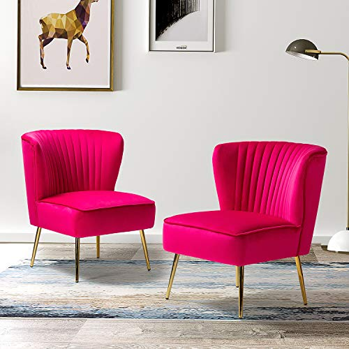 Monica Velvet Upholstered Side Chair with Glam Gold Metal Legs for Living Room Bedroom (Set of 2) - Fuchsia