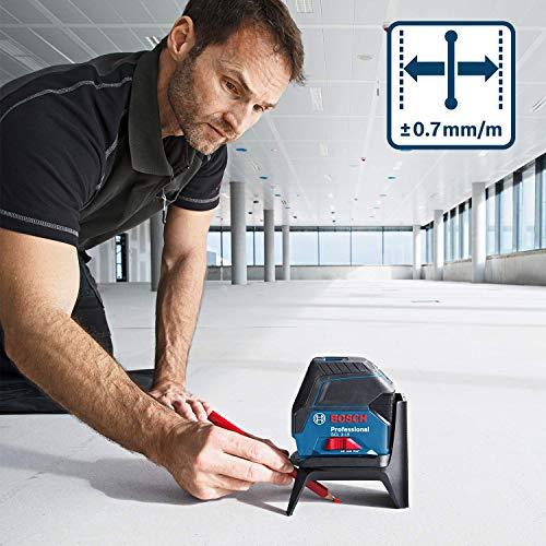 Bosch Professional laser ligne en croix GCL 2-15 (laser rouge, pour l'intérieur, avec points d'aplomb, portée : 15 m, 3 piles AA, support rotatif RM 1, cible laser, housse de protection)